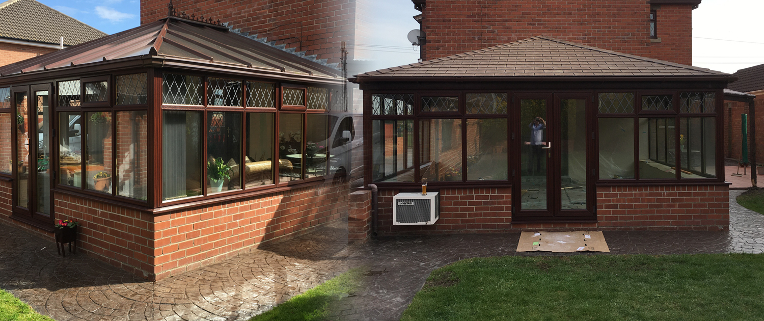 Showing a before and after conservatory roof pic